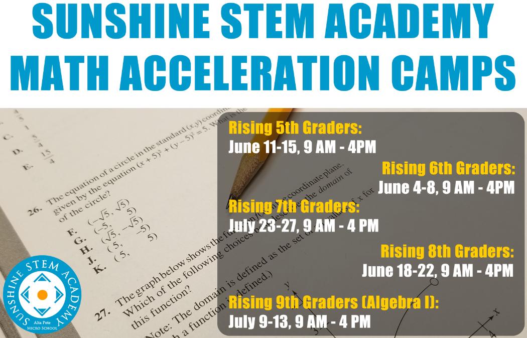 Sunshine STEM Academy Summer Camps 2018 Math Acceleration