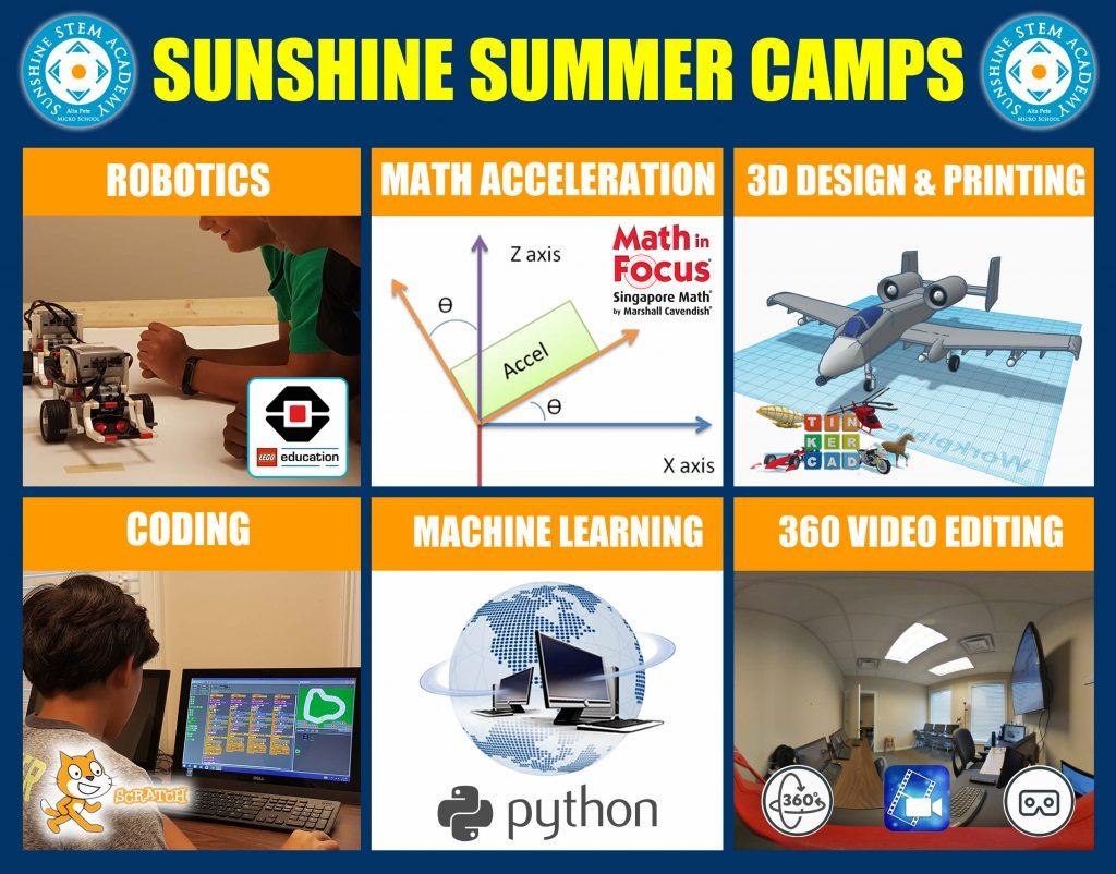 Sunshine STEM Academy Summer Camps 2018 Robotics-Coding- 3D Design-Math Acceleration-Video Editing-360 VR